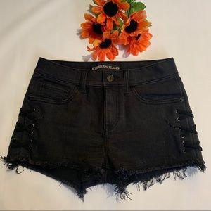 Express Lace-up Sides Denim Shorts.